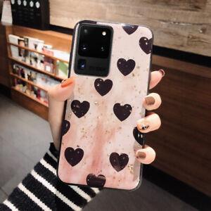 For Samsung Galaxy S20 Ultra S10 Plus S9 S8 Glitter Heart Silicone Case Cover
