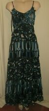 LADIES GORGEOUS BLACK BLUE WHITE BEADED TIERED PARTY MAXI DRESS SIZE 16 UK