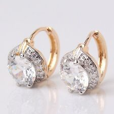 HOT white sapphire 18K Gold Platinum filled elegant nice leverback earring