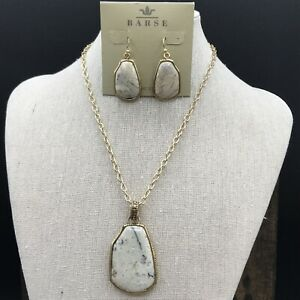Barse African Opal Necklace & Earrings- Bronze- NWT