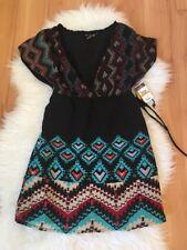 O'Neill Women's Dress Black Dream Catcher Short Sleeve V-Neck Size Small
