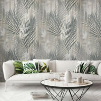 Wallpaper textured roll silver Metallic Modern Floral Tropical Palm Leaves Trees