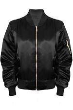 Ladies Ma1 Vintage Stylish Padded Lined Shiny Satin Biker Bomber Jacket Coat