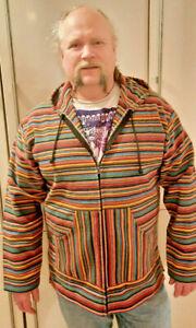 Kapuzenjacke Baja Jerga Fischer Surf Dashiki Hoodie bunt Hippie Mexican Gr. XXL