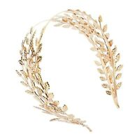 Women Girl Gold Leaf Bride Prom Party Hair Headband band Crown Tiara Hairpiece