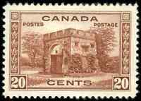 Canada #243 mint VF+ OG H DG 1938 Pictorial 20c red brown Fort Garry Gate