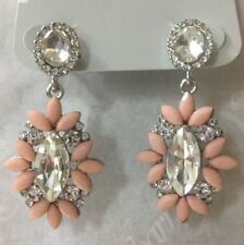 Charming Charlie RSVP Bridal Rhinestone & Pink Dangle Earrings Silver Oval