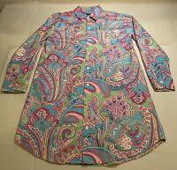 Ralph Lauren Polo Sz S Multicolor Paisley 100% Cotton L/S Button Long Shirt