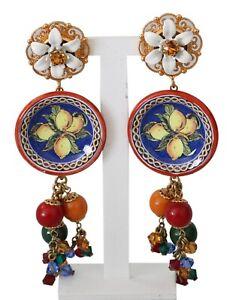 DOLCE & GABBANA Earrings Gold Tone Carretto Lemon Drop Clip-on Jewelry RRP $1100