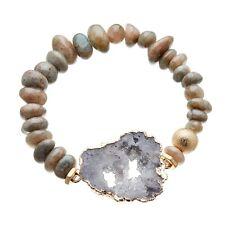 Stretch Bracelet with grey agate beads and grey druzy quartz stone - Jacey