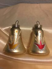 2 VINTAGE HAND PAINTED GLASS BELL CHRISTMAS ORNAMENTS **