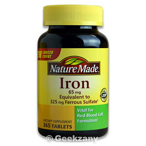 Nature Made Iron 65 mg Ferrous Sulfate 365 Tablets Dietary Supplement Exp: 06/23