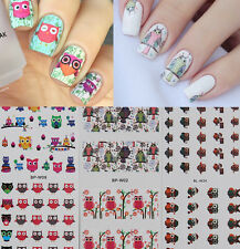 3Sheets Owl Pattern Nail Art Water Decals Transfer Stickers Kit