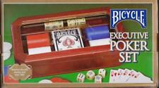 Bicycle Executive Poker Set Wood Box Glass Imprinted Lid Cards Chips & Dice