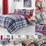 Check Duvet Cover Reversible Bedding Set King Size Double Single Superking Quilt