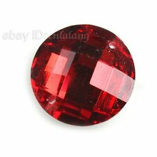 100x 24560 Red Faceted Round Sew-on Flatback Embellishment Button Applique 14mm