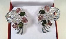 7.89 CTW FANCY TOURMALINE & WHITE SAPPHIRE EARRINGS - WHITE GOLD over 925 SILVER