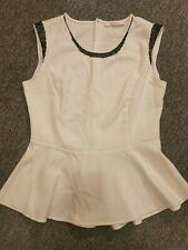 Reserved White Sleeveless Peplum Top With Black Beading Size 16
