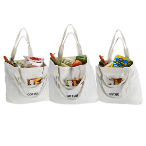 REUSABLE CANVAS GROCERY BAGS WITH LONG HANDLES.ECO FRIENDLY SHOPPING BAG