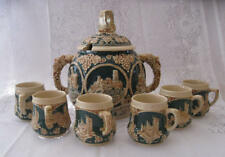 Vintage Marzi & Remy - Green and Ivory Cider Punch set  Bowl and 6 Mugs pre 1964