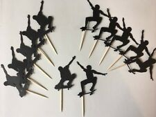 12 Skateboarding cupcake toppers. Great for birthday Parties. free shipping