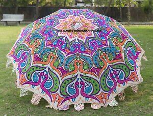 Indien Paon Jardin Parapluie, Fait Grand Parasols Patio Extérieur Décoratif