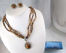 AVON 2005 TIGER'S EYE PENDANT MULTISTRAND BEADS Necklace Clip Earrings SET BOX
