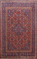 Vintage Geometric Mahal Area Rug Wool Hand-Knotted Oriental RED Carpet 7x10 ft