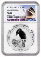 2008-P Australia 1 oz Silver Kookaburra $1 NGC MS70 Exclusive Label SKU31972