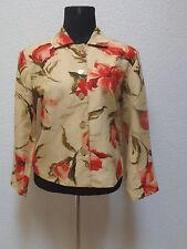 TAN/RED FLORAL silk blend COLDWATER CREEK  open blazer jacket PM