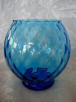 Beautiful Collectible Turquoise Swirled Blown Art Glass Footed Vase