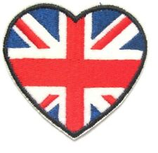 British Flag Heart Union Jack Small Iron On / Sew On Patch Badge 6 x 6 cm UK