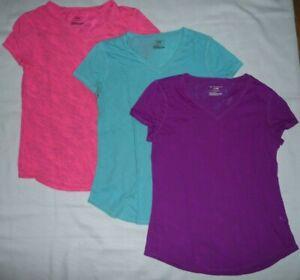 TEK Gear Lot 3 DRY TEK v-neck Activewear quick dry tees t-shirts tops Size S