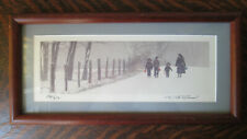 Dick Brown Framed Photo Amish Woman Children Country Winter Snow Signed Numbered