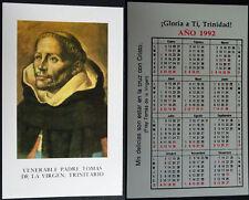 ESTAMPA HOLY CARD PADRE TOMAS DE LA VIRGEN TRINITARIO CALENDARIO AÑO 1992 CC1558