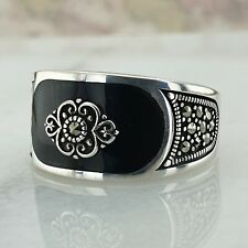 Solid 925 Sterling Silver Signet Black Agate Gemstone  Men Ring Turkish Ottoman