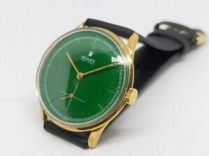 Vintage Rolex Precision Men's Wrist Watch Green Face Gold Case 33mm Antique