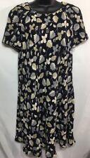 Liz Claiborne Women's Short Sleeve Lined Dress Black Floral Size 10 Polyester