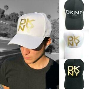DKNY Unisex Adjustable Flex Textured Logo Cap Hat - Black White Navy Grey
