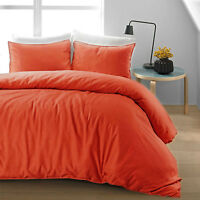 Luxury Soft 100% Pure Natural Cotton Linen Red Orange Duvet Cover Bedding Set