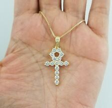 Women 14k Yellow Gold Round Diamond Egyptian Ankh Cross Pendant Necklace