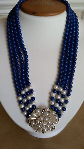 """Artisan Crafted 4 Stranded Genuine Lapis with Pearl Medallion Necklace 20"""""""