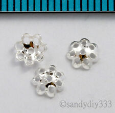 20x BRIGHT STERLING SILVER FLOWER BEAD CAP 4.9mm #1016