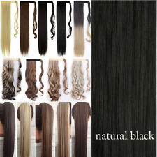 Extra Thick Clip in Hair Extensions Ponytail As Remy Human Pony Tail Brown Mix