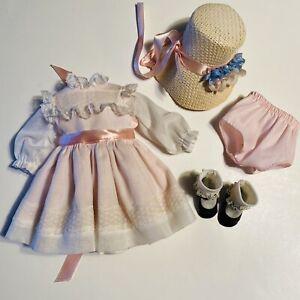 "VTG Pink Doll Dress Clothes Bonnet Black Shoes For 14"" Dolls Lace Trim Socks"