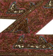 Vintage Sari Border Antique Hand Beaded 1 YD Indian Trim Decor Ribbon Pink Lace
