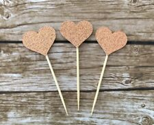 10x Love Heart cupcake toppers / Rose Gold - Valentine's, Wedding, Bridal Shower