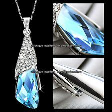 Blue Crystal Silver Necklace Pendant Chain Xmas Gifts For Her Wife Couples Women