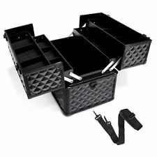 Portable Beauty Case Professional Makeup Carry Box Cosmetic Travel Diamond Black
