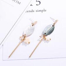 Leaf Shape Sea Shell Pendant Drop Earrings Handmade Jewellery Gold Shell